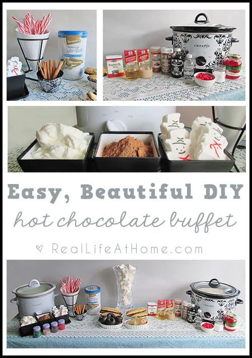 Looking for a creative addition to your next winter time party? A hot cocoa bar might be just what you're looking for! Creating your own easy, beautiful DIY hot chocolate buffet is easier than you think! Whip one up in no time with these simple instructions. #HotChocolateBuffet #HotCocoaBar | Real Life at Home