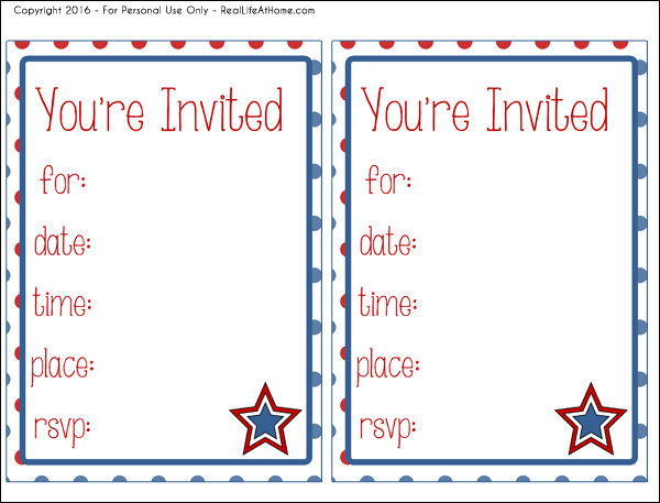 Free printable 4th of July (or other patriotic holidays) invitations