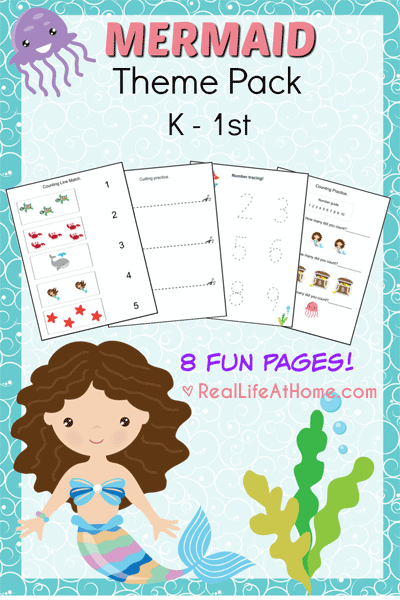 Free Eight Page Mermaid Printables Packet for Preschool and Kindergarten