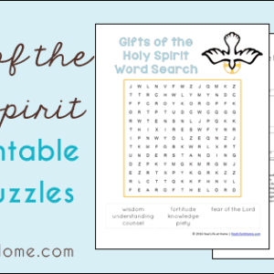 Learning about the Seven Gifts of the Holy Spirit? This free printables set features a Gifts of the Holy Spirit crossword puzzle and word search.