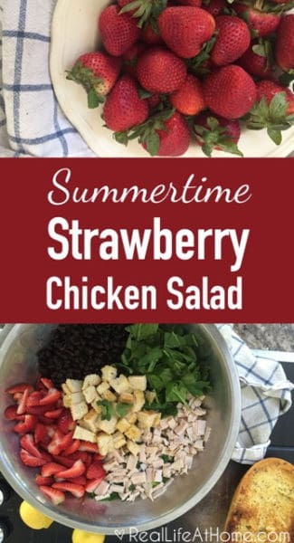 Looking for the perfect salad for summer lunches or picnics and gatherings? Check out this summertime strawberry chicken salad with garlic bread croutons!