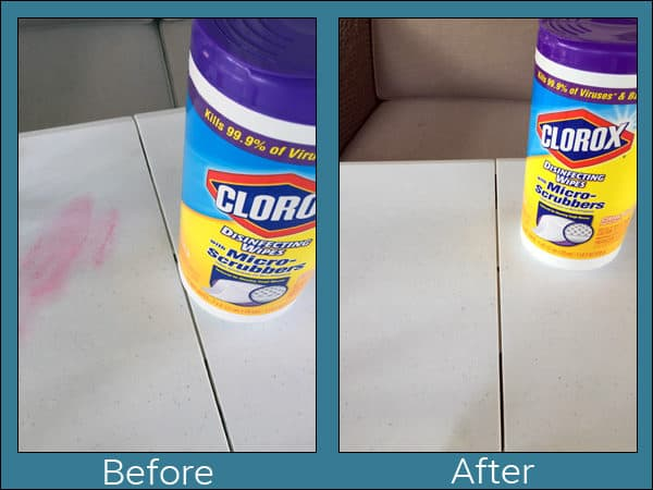 The Before and After of a Textured Table (with Nail Polish on it!) While Cleaning with Clorox® Disinfecting Wipes with Micro-Scrubbers