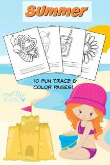 Looking for a fun activity to do when it's too hot to be outside? Click through to get your free downloadable ten page summer coloring pages and tracing printables packet!