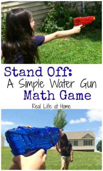This simple and low prep water gun math game is a fun chance for your kids to get outside, enjoy the sun, play with water guns, and review their math facts at the same time!