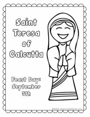 Saint Teresa of Calcutta Coloring Page