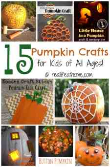 With autumn just around the corner, now's the perfect time to gather your art supplies and make some pumpkin crafts with your favorite kiddos! | reallifeathome.com