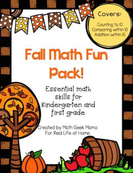 Grab this cute set fun math fall worksheets for first grade and kindergarten! This set covers counting, comparing and adding numbers within 10. Plus, all pages are black and white for easy printing!   Real Life at Home