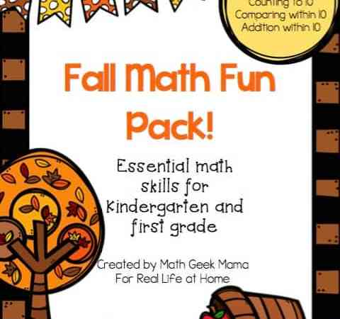 Fun Fall Math Worksheets Pack (Kindergarten-First Grade)