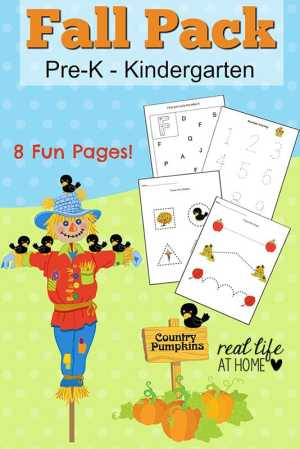 Looking for some fall worksheet fun for your preschooler or kindergartner? Click through to get the instant downloadable fall printables for preschoolers and kindergartners! | Real Life at Home