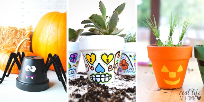 20 Cute and Easy Flower Pot Halloween Crafts