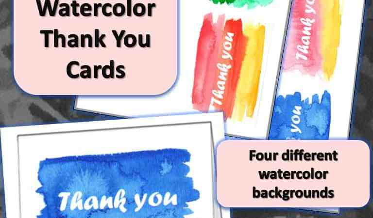 Printable Watercolor Thank You Cards