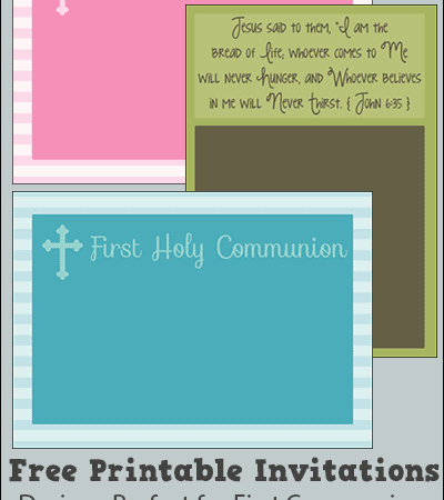 Free Printable First Communion, Baptism, and Confirmation Invitations and Announcements