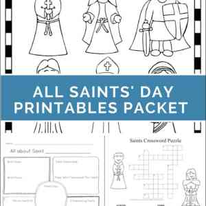 All Saints' Day Printables Packet featuring puzzles, coloring pages, a mini book, and more all about saints   Real Life at Home