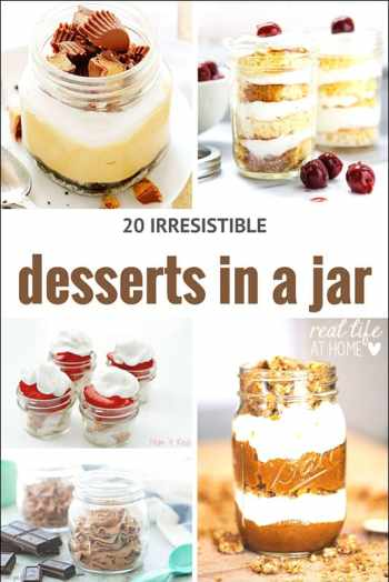 Desserts in a jar aren't just fun to look at and to make, but they are also a great option for on-the-go desserts or for gift giving. Click to check out 20 awesome recipes for desserts in a jar. | Real Life at Home