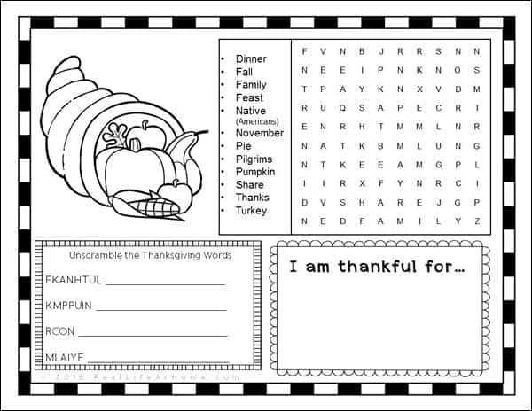 Thanksgiving Activity Page Or Placemat For Kids Free Printable