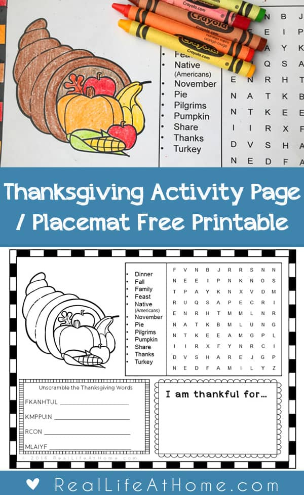 Thanksgiving Activity Page or Placemat for Kids {Free ...