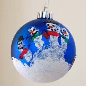 Sweet and Easy Handprint Snowman Ornament Craft for Christmas