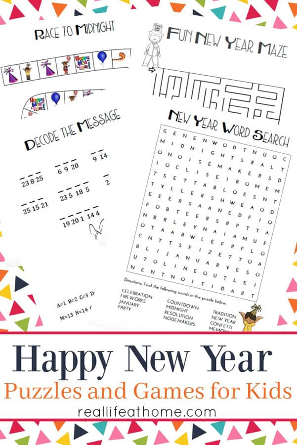 picture relating to New Year's Worksheets Printable named Refreshing Yrs Game titles and Puzzles for Youngsters Printables Packet
