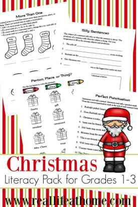 This Christmas literacy printables packet is free to download and contains eight pages of Christmas-themed language arts and grammar practice. | Real Life at Home