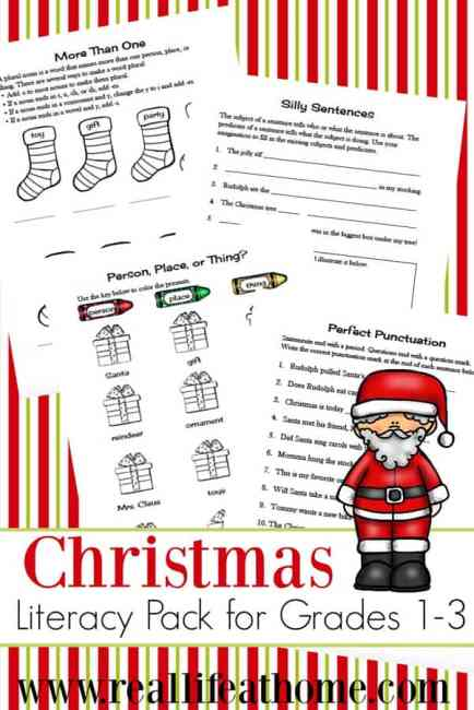 christmas language arts worksheets packet for 1st 3rd grade. Black Bedroom Furniture Sets. Home Design Ideas