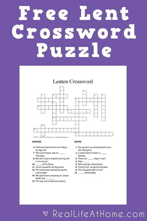 picture regarding Printable Crossword Puzzles for Kids titled Free of charge Lent Crossword Puzzle Printable for Small children and Young adults