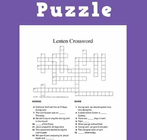 Free Lent Crossword Puzzle Printable for Kids and Teens