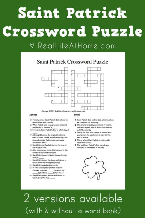 Saint Patrick Crossword Puzzle Free Printable {2 Versions}
