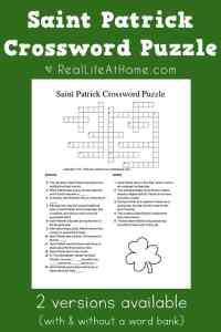 Saint Patrick Crossword Puzzle Free Printable (includes two versions - with and without a word bank)   Real Life at Home