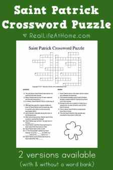 It is an image of Playful St Patrick's Day Crossword Puzzle Printable
