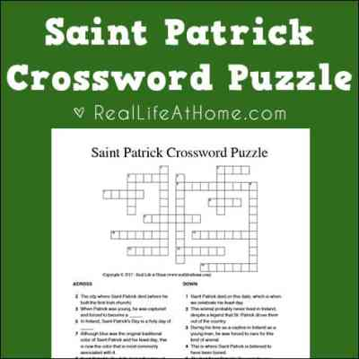 Saint Patrick Crossword Puzzle Free Printable (includes two versions - with and without a word bank) | Real Life at Home