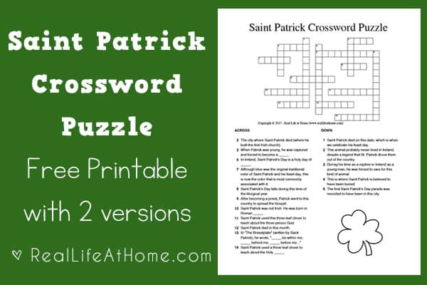 Saint Patrick Crossword Puzzle Printable {2 Versions} | Real Life at Home