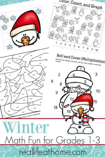 In the cold of winter, it's fun to make some changes to your regular routines. Make math fun with this free printable packet of winter math worksheets for 1st - 3rd grade   Real Life at Home