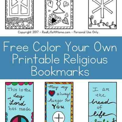 Free Color Your Own Printable Religious Bookmarks - Perfect for all ages! { printable bookmarks | First Communion bookmarks | religious bookmarks coloring page | Scripture bookmarks coloring page }