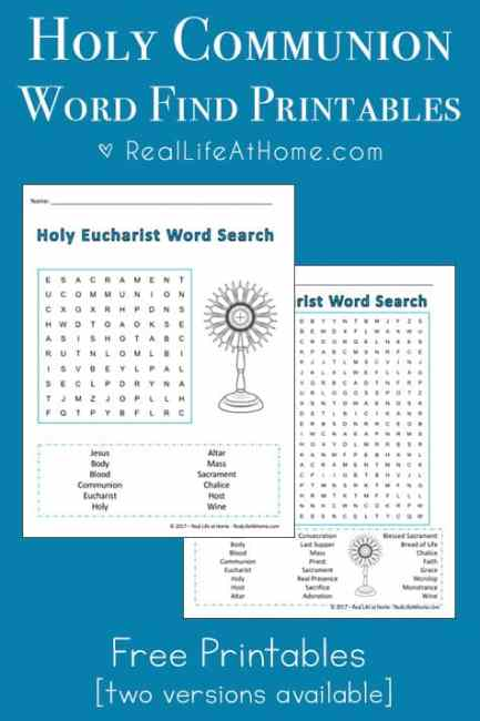 Free printable Holy Communion word search puzzles, perfect for Catholic kids preparing for First Communion or kids studying the Sacraments. | Real Life at Home