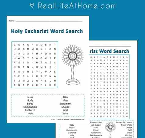 Holy Communion Word Search Printable {Perfect for First Communion Students}