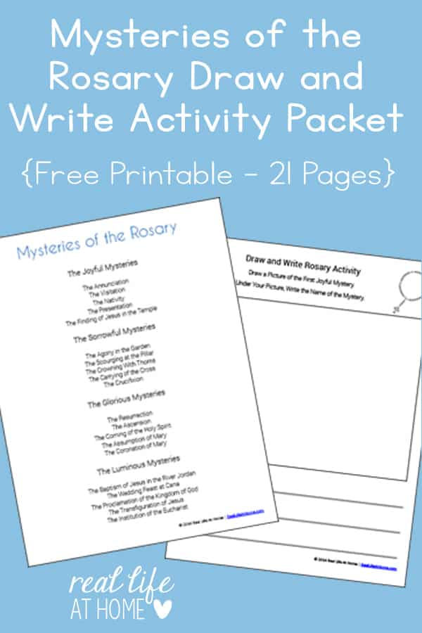 Mysteries of the Rosary Draw and Write Printables Packet