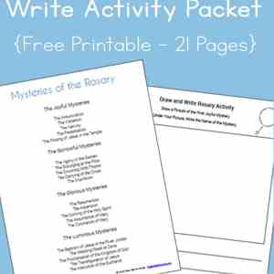 A great ongoing activity to help Catholic kids become more familiar with the Rosary, this Mysteries of the Rosary Draw and Write Activity Printables Packet is a free download! | Real Life at Home