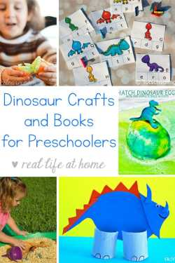 Looking for easy dinosaur crafts for preschoolers? Need some dinosaur books? Here is an extensive list of dinosaur crafts, dinosaur books, and dinosaur printables for preschool and kindergarten children.   Real Life at Home