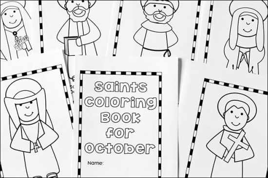 pages from the october saints coloring book free printable set real life at home