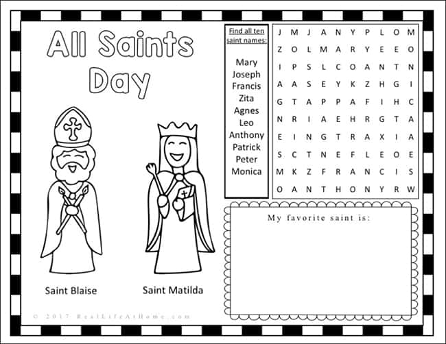 Roman Catholic Saints Bingo Card Getting ready for All Saints Day ...