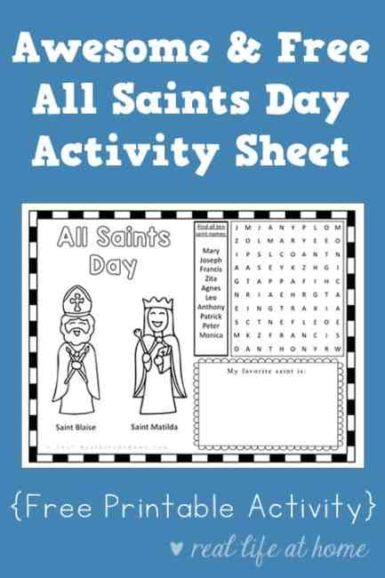 Looking for a printable with activities for All Saints Day? This All Saints Day activity sheet is a fun free printable perfect to use with children. #CatholicPrintables | Real Life at Home