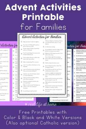 Need something to help give your family a more meaningful and mindful Advent? This free Advent Activities printable is full of family Advent activity ideas. This set includes both black and white and color options with multiple designs. | Real Life at Home