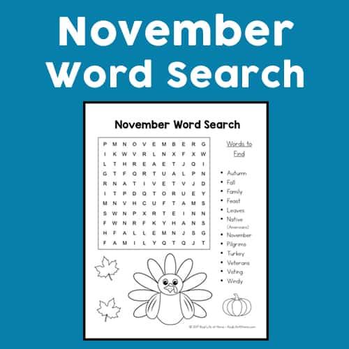 November Word Search Printable for Kids