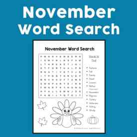 November Word Search Printable for Kids