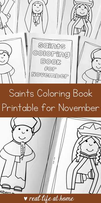 Looking for a seasonal saint activity to do with children? This free printable saints coloring book for November is a great Catholic coloring book for kids #CatholicPrintables #CatholicKids