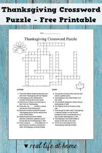 A free printable Thanksgiving crossword puzzle (includes an answer key). This is perfect for upper elementary, middle school, and high school students. #Thanksgiving #ThanksgivingPrintables #CrosswordPuzzlePrintables