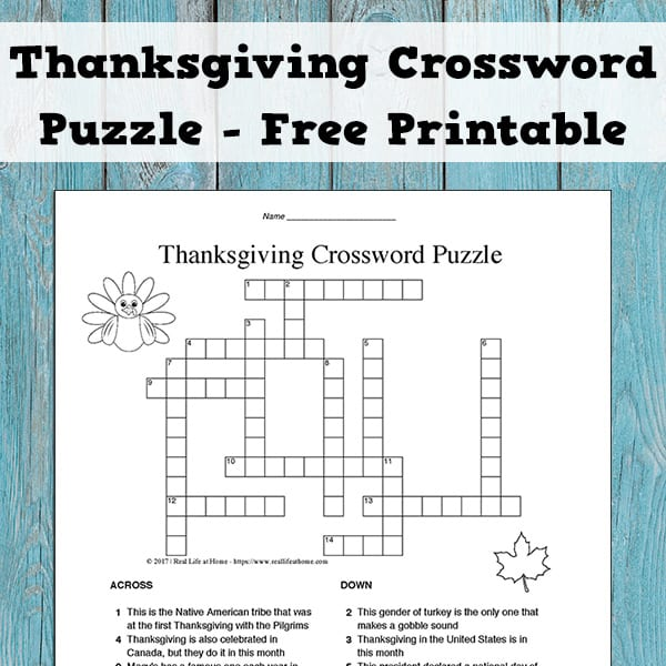 image relating to Crossword Puzzles for High School Students Printable identified as Thanksgiving Crossword Puzzle for Youngsters: Enjoyable and Absolutely free Match
