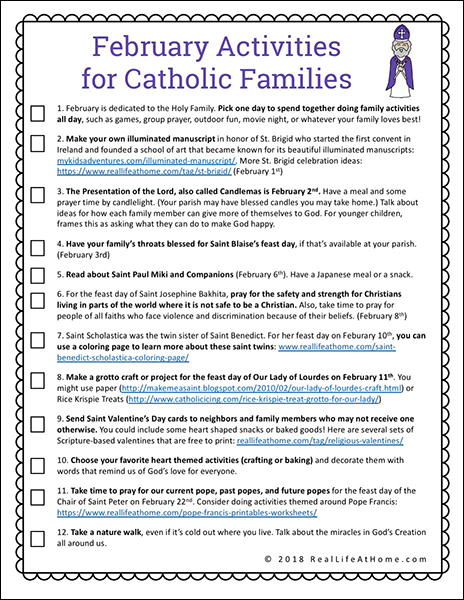 photograph about Printable Family Games referred to as 12 Pursuits for Catholic Family members inside February (Cost-free Printable)