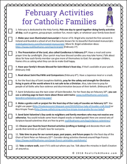 12 Activities for Catholic Families in February Free Printable: This includes 12 faith formation activities to do with your children that are centered around February feast days #CatholicPrintables #CatholicKids #ReligiousEducation