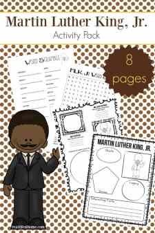 Free printable eight page Martin Luther King Jr. worksheets packet which includes items such as a Martin Luther King Jr. word search, MLK word scramble, and more. | Real Life at Home